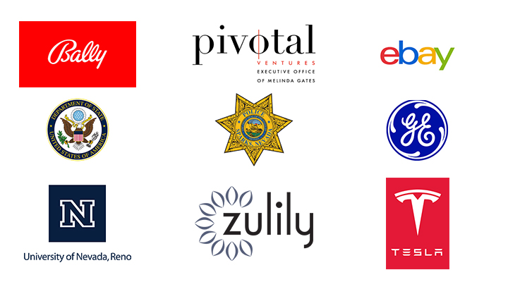 Company logos: Bally, Pivotal Ventures, ebay, Department of State, Sparks Police, GE, University of Nevada, Reno, Zulily, Tesla
