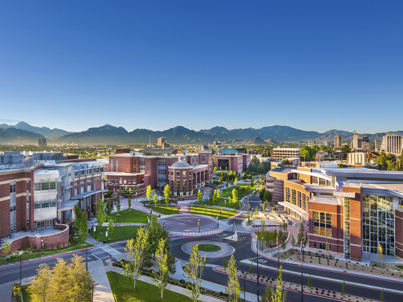 Overhead view of the University of Nevada, Reno campus
