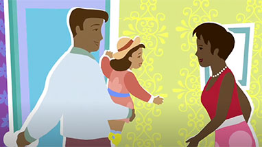 Illustrated drawing of dad holding child looking at mom