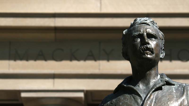 Close up of Mackay Statue bust.