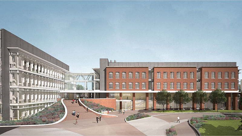 Rendering of the Pennington Engineering building with two wings, one brick and the other gray with a more modern look, with a skywalk connecting both wings