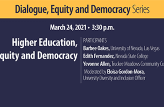 """Title slide for """"Higher education, equity and democracy"""""""