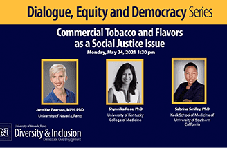 """Title slide for """"Commercial tobacco and flavors as a social justice issue"""""""