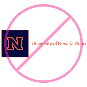 University logo with incorrect color to block N and text