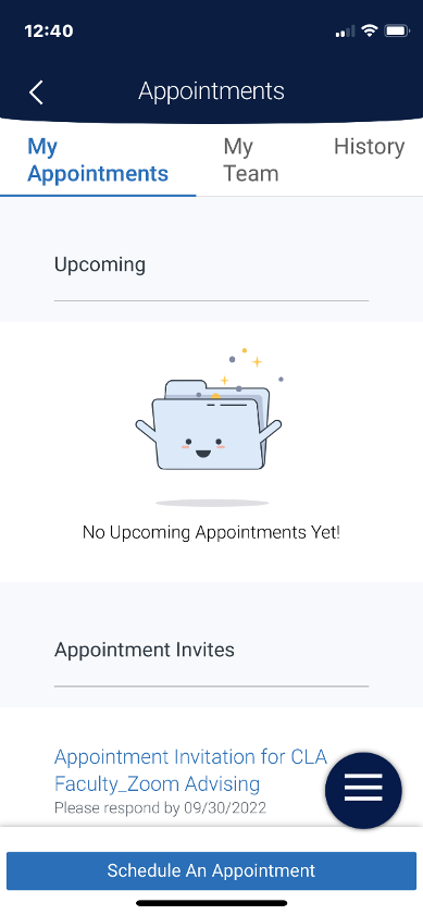 Screenshot of the Appointment view of the Navigate Student app.