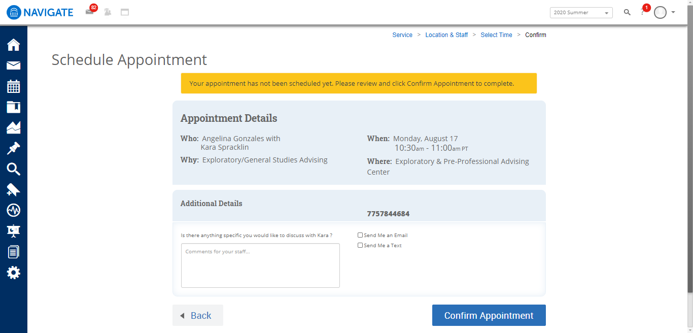 Screenshot of confirmation page in Navigate dashboard with appointment details, location and time, a text box to include comments and fields to set an email or text reminder and a confirmation appointment