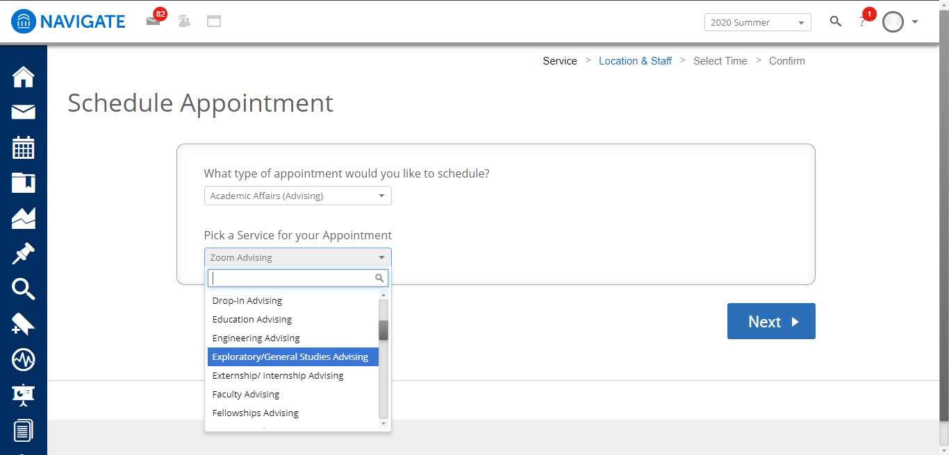 Screenshot of the Navigate dashboard with Pick a Service for your Appointment option with a drop-down menu showing seven different types of advising.