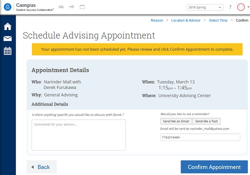 Screenshot of confirmation page in SSC-Campus dashboard with appointment details, location and time, a text box to include comments and fields to set an email or text reminder and a confirmation appointment