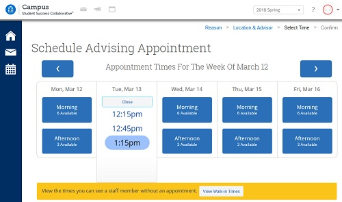 Screenshot of the date and time calendar in SSC-Campus dashboard including options to cycle through dates and choose walk-in times