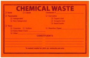 An example of an orange chemical waste label