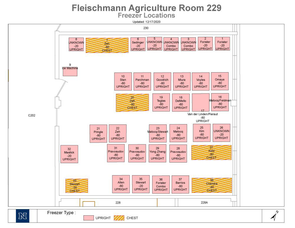 A map of the FA229 freezer room, described in detail below