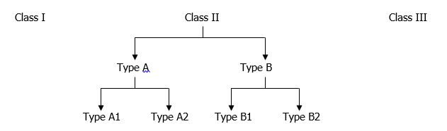 A chart describing the breakdown of the classes of biosafety cabinets. Class 1 and class 3 cabinets don't have any subdivisions, but class 2 is shown to have several subcategories. See the accompanying text for a list of these.