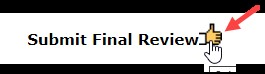 "InfoEd screen shot: Black text stating, ""Submit Final Review."" To the right of text is the image of a hand with thumb up. A red arrow points to the icon."