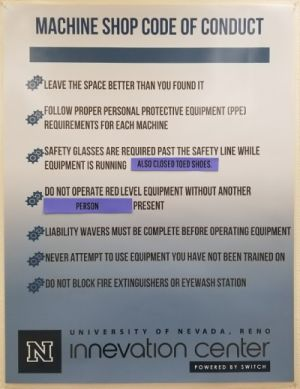 The machine shop code of conduct sign