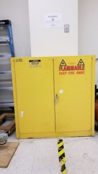 A cabinet labeled for flammable material