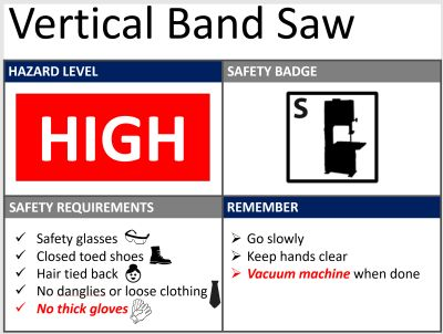 An example of a vertical band saw safety sheet