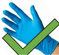 An example of correct, thin gloves with a large green checkmark indicating that they can be used