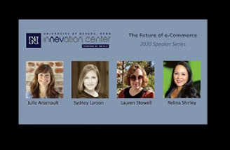 Guest speakers, Julie Arsenault, Sydney Larson, Lauren Stowell, and Relina Shirely from The Future of e-Commerce