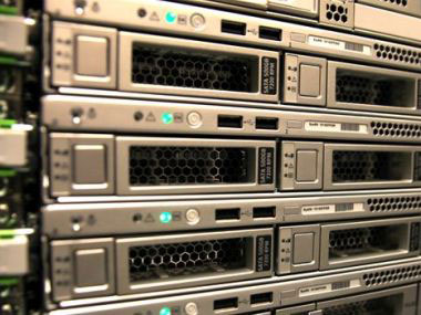 Close-up of a stack of servers