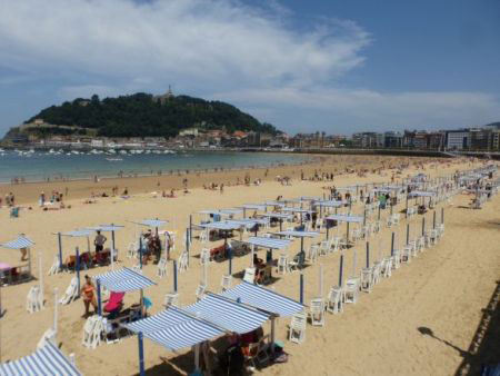 San Sebastian, Spain - La Concha beach and harbor near Bilbao in Basque country, taken by a student researcher