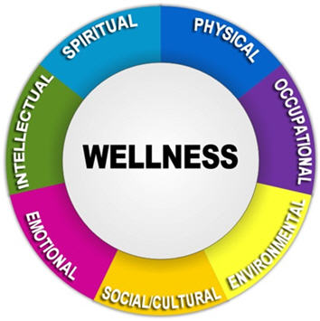 "[Figure 1] Visual image of the Wellness Wheel. A circle with ""Wellness"" in the middle, surrounded by outer rings and associated colors for parts of the Wellness Wheel. Components include ""Spiritual,"" (light blue) ""Physical,"" (dark blue) ""Occupational,"" (purple) ""Environmental,"" (yellow) ""Social/Cultural,"" (gold) ""Emotional,"" (pink) and ""Intellectual"" (green)."