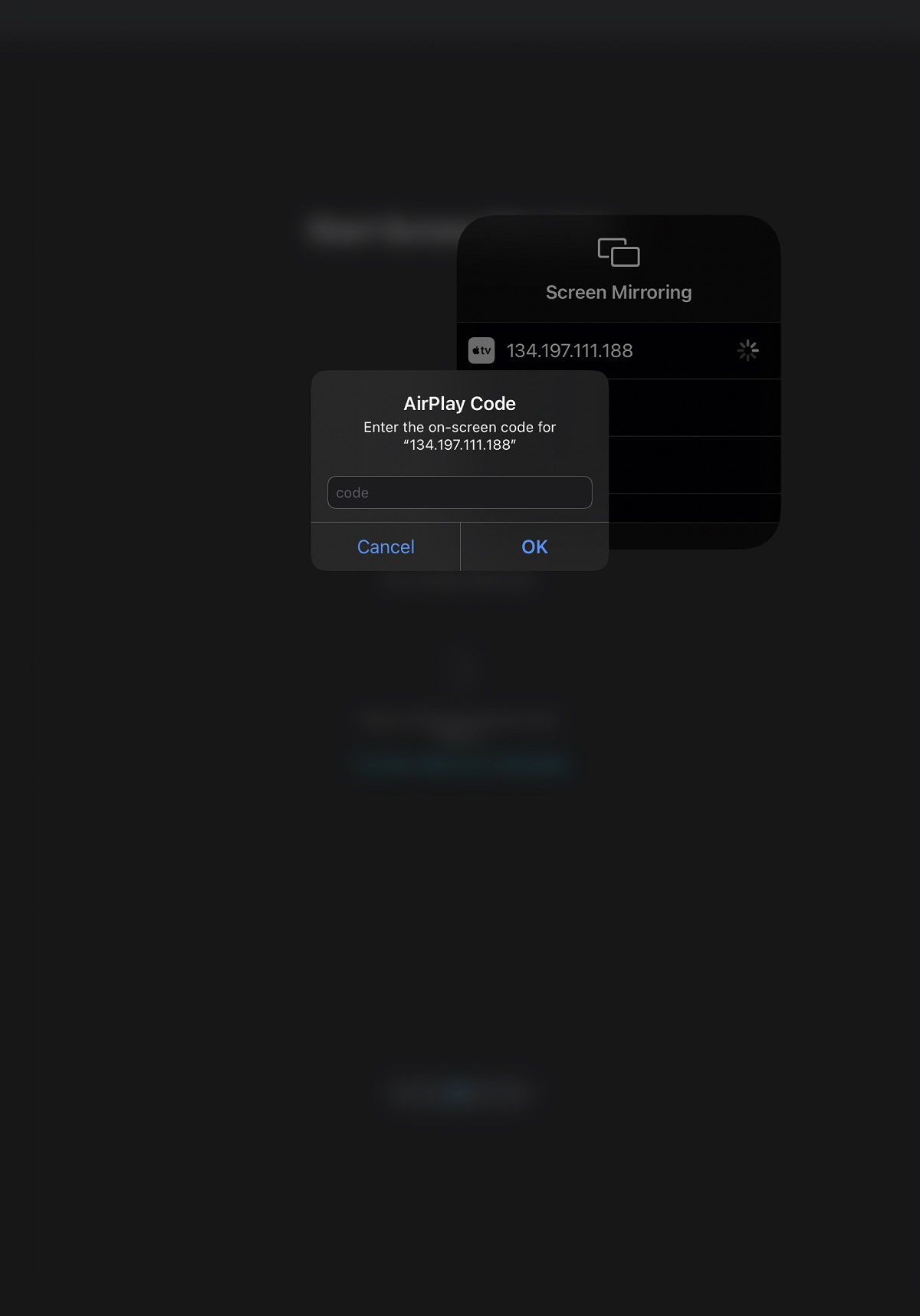 Screenshot of the AirPlay code entry interface in iOS, prompting to enter the 4-digit code corresponding to the IP address selected in the previous step.