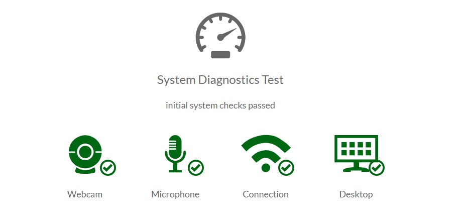 [Figure 6] Screenshot of the Systems Diagnostics Test results with text indicating that initial system checks were passed. Four icons are displayed with accompanying check marks. The icons are labeled and show graphical representations of a webcam, microphone, internet connection and desktop.
