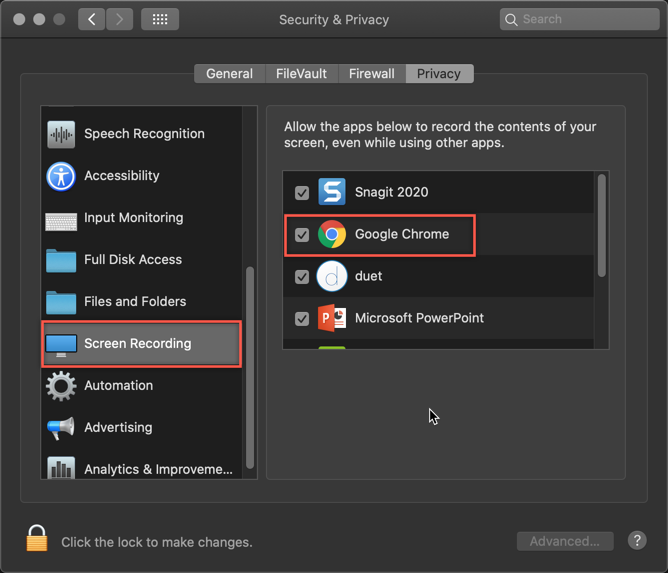 Screen capture of Privacy settings for a Mac computer, with a list of apps allowed for screen recording. Google Chrome and Screen Recording are circled in red rectangle, indicating Google Chrome should be allowed for Screen Recording.