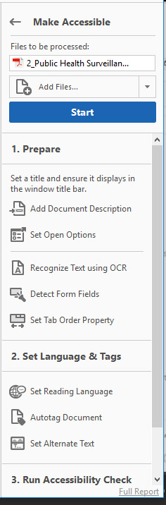 [Figure 3] Screenshot of the 'Make Accessible' tool sidebar with menu options divided into sections, including '1. Prepare', 'Set Language & Tags', and '3. Run Accessibility Check.' Each option includes steps such as 'Add Document Description, 'Autotag Document' and 'Set Alternate Text' that allows users to correct accessibility issues in Adobe Acrobat.