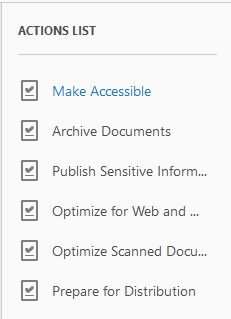 Screenshot of the 'Actions List' menu options in the 'Actions Wizard' tool, including 'Archive Documents' and 'Prepare for Distribution.' The screenshot shows the 'Make Accessible' link option that users can click to launch the 'Make Accessible' tool.