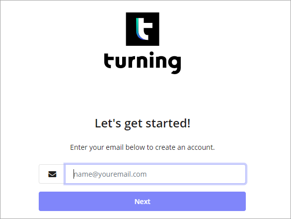 A screenshot of the Turning Technologies account registration page.  A box where an email address can be entered.  A Next button for users to click and start the registration process.