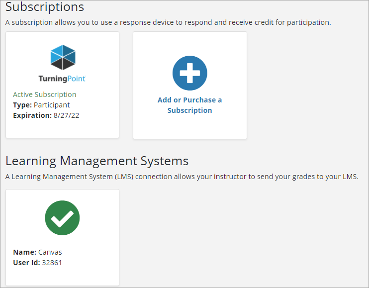A screenshot of the summary screen showing an active TurningPoint subscription and a green check mark listed under