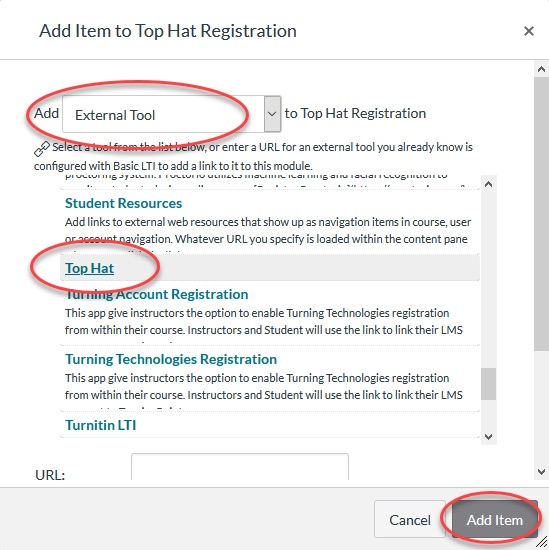"Figure 2. Screenshot of the ""Add Item to Top Hat Registration"" menu. Users may select ""External Tool"" (circled in red) to the ""Add"" drop down menu to Top Hat Registration. Select ""Top Hat"" (circled in red) from the list of options and then click the ""Add Item"" button/link (circled in red) to complete the process."