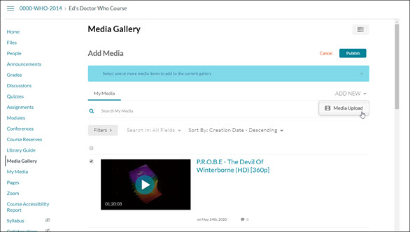 "Screen clipping of the Media Gallery page in WebCampus. The ""Add New"" drop-down menu is activated and ""Media Upload"" is selected."