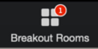 ] Screen capture of the breakout rooms option in the Zoom interface with a numbered red flag indicating the number of students waiting to be assigned to a breakout room.