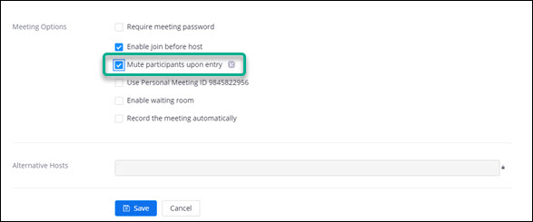 "Screen clipping of the Meeting Options area of the Zoom new meeting creation interface. Options ""Enable join before host,"" and ""Mute participants upon entry"" are selected. The option ""Mute participants upon entry"" is highlighted."