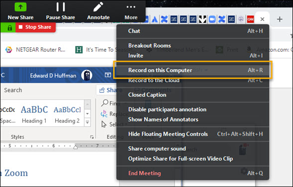 "Screenshot of the More drop-down menu from the Zoom in-meeting shared-screen toolbar. The More drop-down is activated and the ""Record on this Computer"" option is highlighted"
