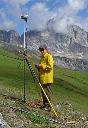 Hansen used GPS to record an exact location for setting up a surveying monument on Revelation Mountain, AK.