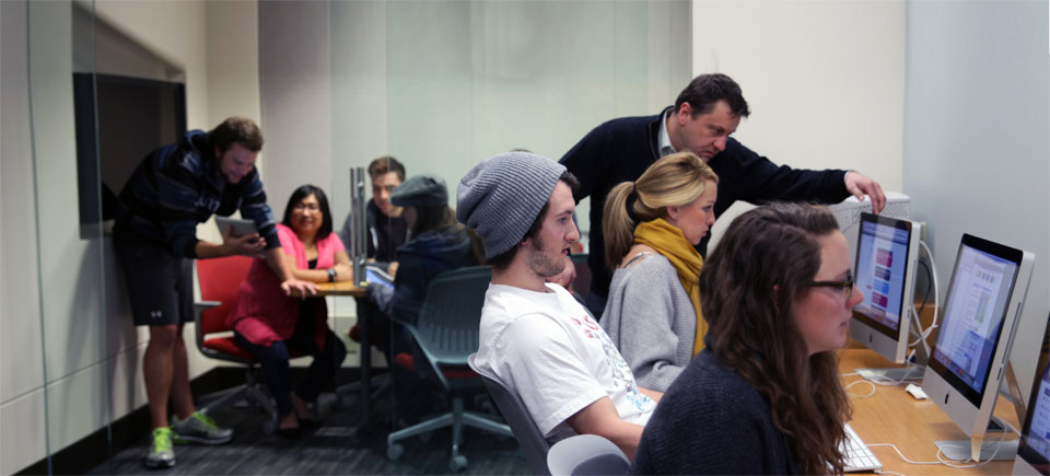 Students in the new graduate studies lab