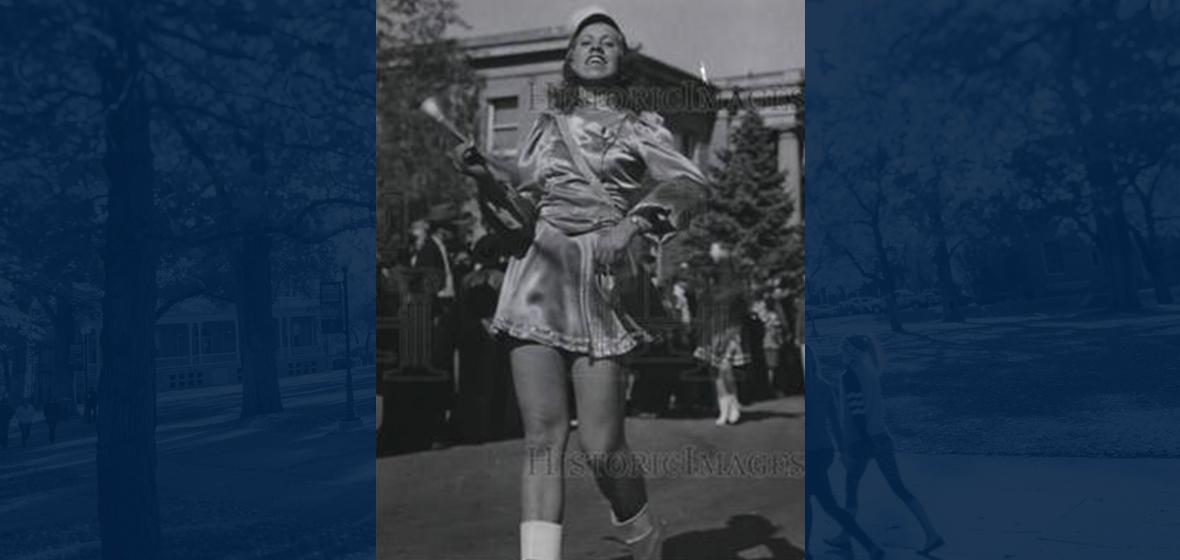 Elsie Crabtree and her short skirt dressed as the University's drum majorette in 1939