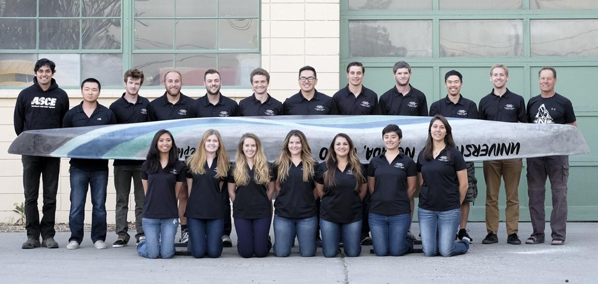 2016 Nevada Concrete Canoe Team pictured next to concrete canoe