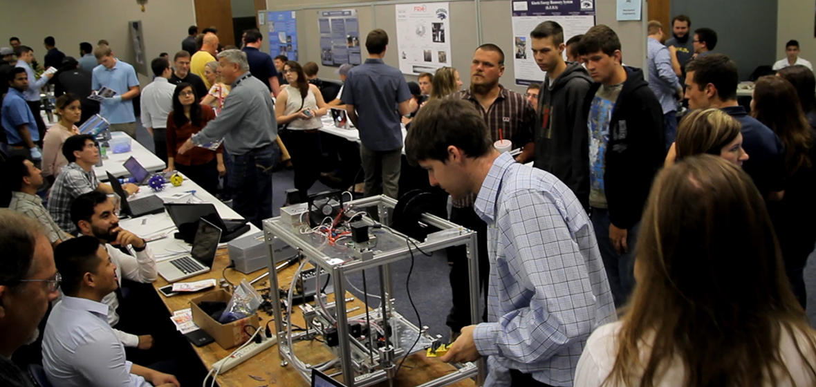 Visitors check out displays at engineering Innovation Day