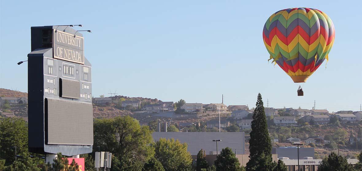 Hot air balloon near the University scoreboard
