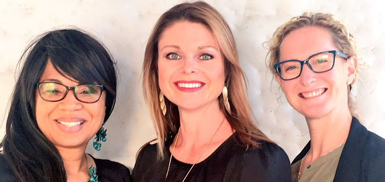 From left to right: Program Directors Tonia Holmes-Sutton and Katie Dockweile with Lindsay Diamond, University assistant professor of special education and external evaluator for the Institute.