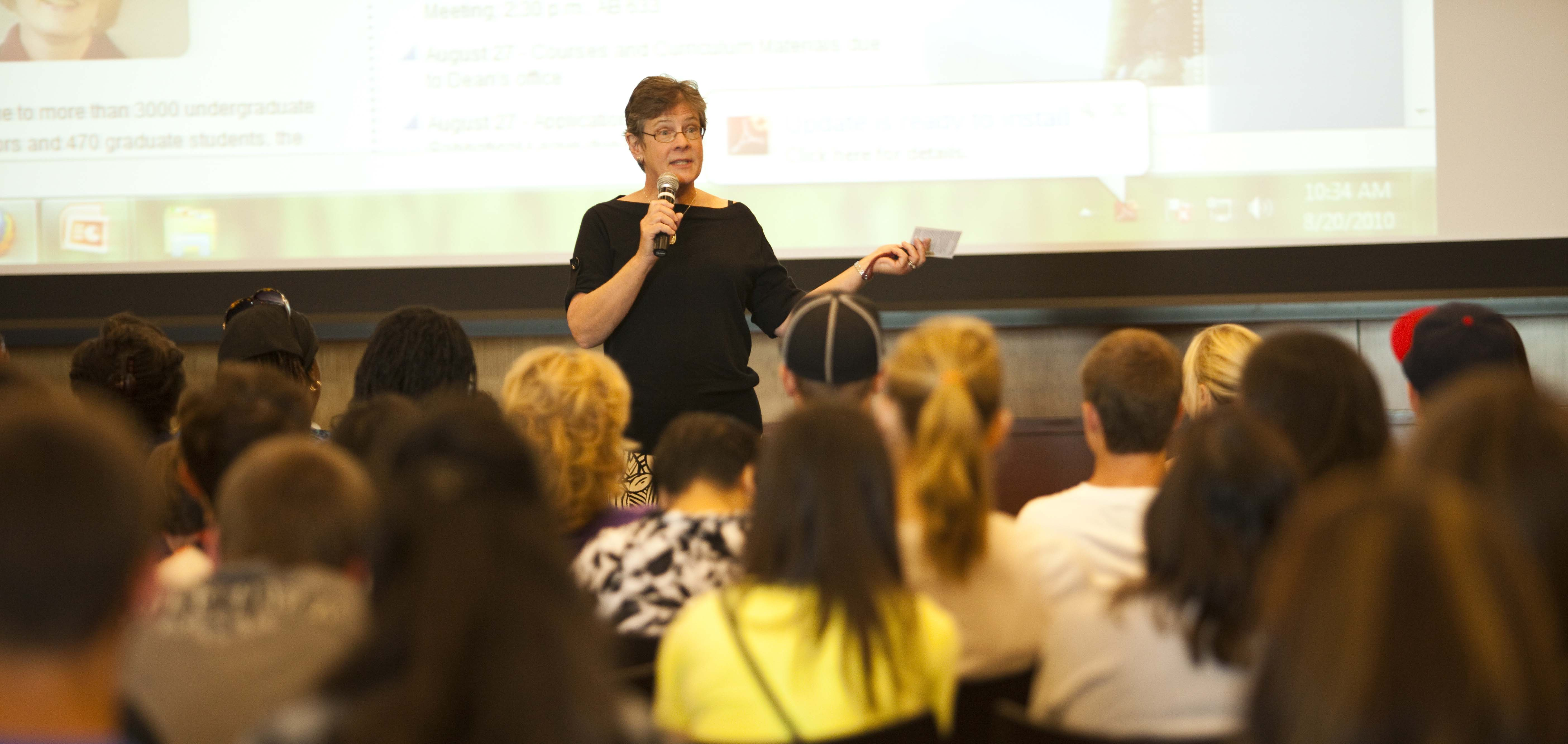 Professor in front of her class