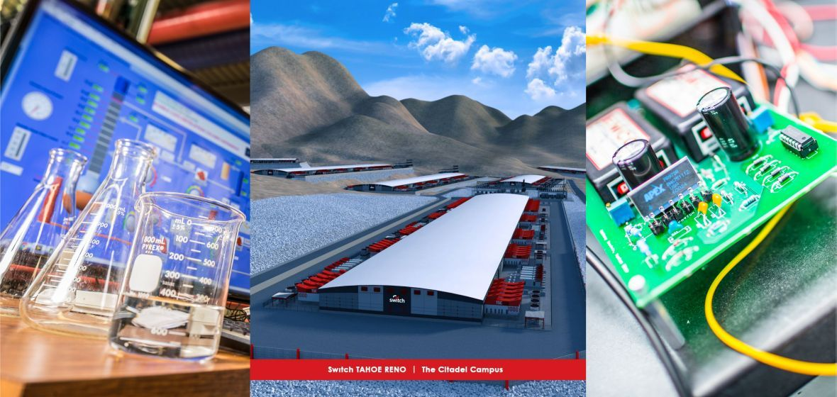 Collage includes artist's rendering of the Switch facility located east of Reno, known as The Citadel Campus, plus a laboratory work space and computer circuit board.