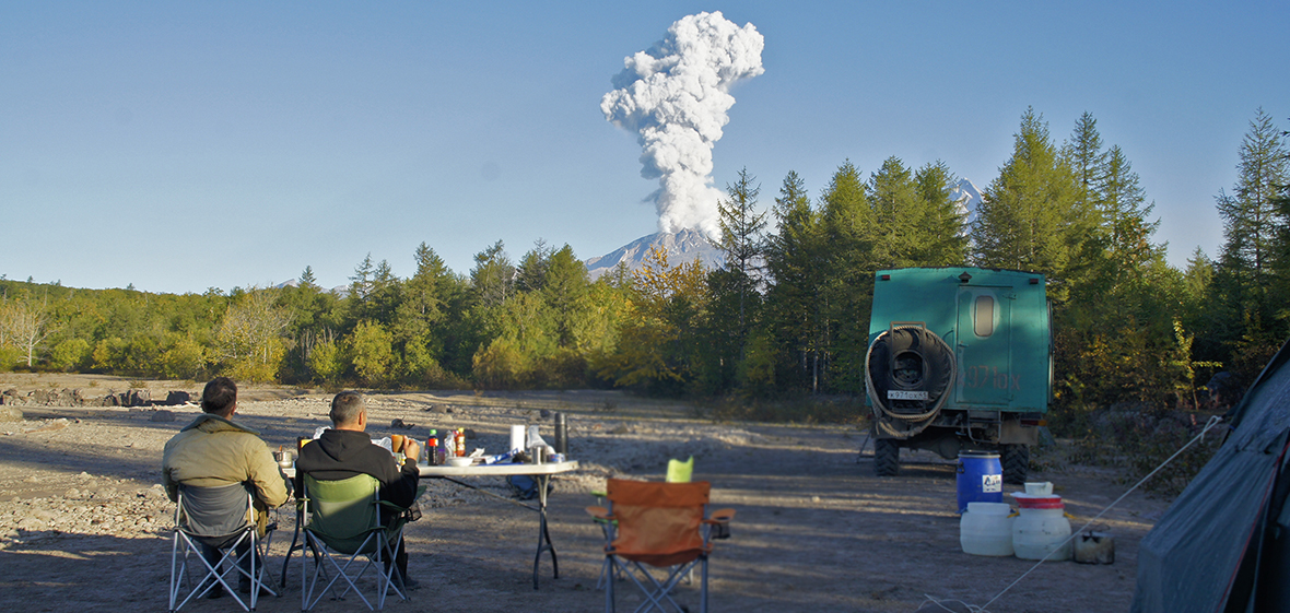 Volcano viewing in Kamchatka