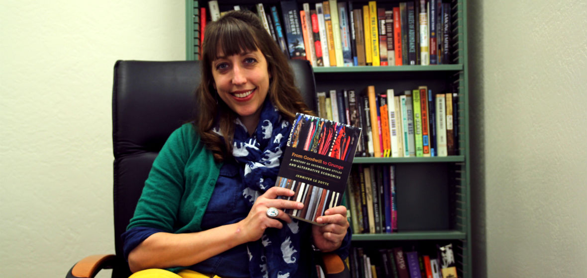 Jennifer Le Zotte with her new book, From Goodwill to Grunge