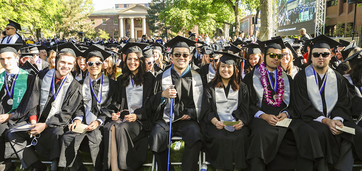 2017 Spring Commencement, Graduates seated on the Quad