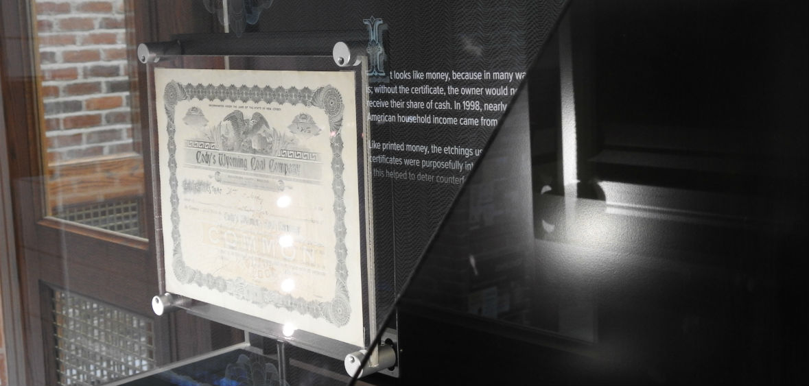Stock Certificate in an Augmented Reality Collider Case